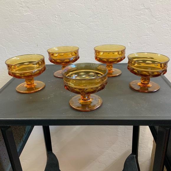 5 Vintage Amber Footed Sherbert Cocktail Glasses
